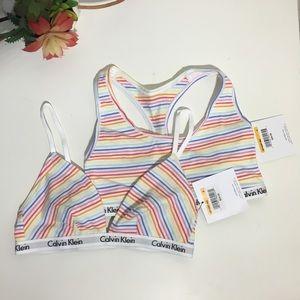 NWT Calvin Klein white striped bralette - set of 2